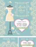 Bridal shower invitation set.Bridal dress,paisley Royalty Free Stock Image