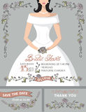 Bridal shower invitation set.Bride portrait Royalty Free Stock Image