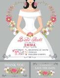 Bridal shower invitation set.Bride portrait,floral Royalty Free Stock Images