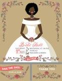 Bridal shower invitation set.Bride portrait,retro Royalty Free Stock Photos