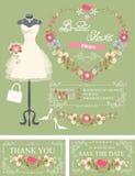 Bridal shower invitation set. Dress,floral decor Stock Images