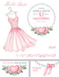 Bridal shower invitation set.Watercolor dress Royalty Free Stock Photography