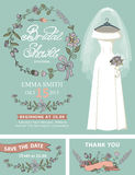 Bridal shower invitation set.Wedding dress,floral Royalty Free Stock Image