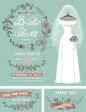 Bridal shower invitation set.Wedding dress,floral Royalty Free Stock Image