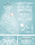 Bridal shower invitation set. Wedding paisley lace. Cute Bridal shower invitation. Retro female's wedding dress, high-heeled shoes, chandelier, het label. Dress stock illustration
