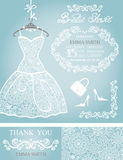 Bridal shower invitation set.Winter wedding,lace. Bridal shower dress,Winter invitation card set.Openwork wedding dress,decor elements.Snowflakes lace fabric Royalty Free Stock Photo