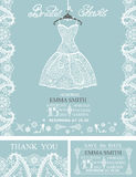 Bridal shower invitation set.Winterwedding  lace. Bridal shower invitation set.Bridal white dress and accessories with paisley lace,swirling frame,snowflakes Royalty Free Stock Photography