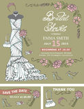 Bridal shower invitation template.Bridal dress Royalty Free Stock Photography