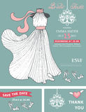 Bridal shower invitation template.Bridal dress Stock Images