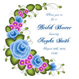 Bridal shower invitation. Template with flowers. Illustration in one stroke painting style. Vector Royalty Free Stock Photos