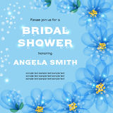 Bridal shower invitation. Template with flowers. Vector illustration with place for text Royalty Free Stock Photography