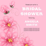 Bridal shower invitation. Template with flowers. Vector illustration with place for text Royalty Free Stock Photo