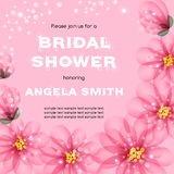 Bridal shower invitation. Template with flowers. Vector illustration with place for text Stock Photos