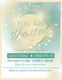 Bridal shower invitation template. Light and glowing wedding shower invitation template Royalty Free Stock Photos