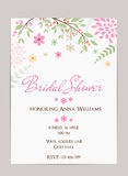 Bridal shower invitation. Template. Simple design with abstract flowers and branches Stock Photos