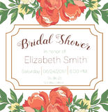 Bridal Shower Invitation Template. Vector illustration with flowers royalty free illustration