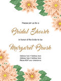 Bridal shower invitation template. Bridal shower or wedding invitation with flowers. Vector Illustration Stock Image