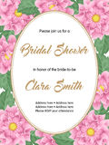 Bridal shower invitation template. Bridal shower or wedding invitation with flowers. Vector Illustration Royalty Free Stock Photo