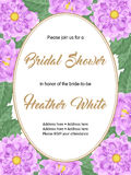 Bridal shower invitation template. Bridal shower or wedding invitation with flowers. Vector Illustration Stock Images