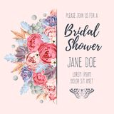 Bridal shower invitation. Vector bridal shower invitation decorated with flowers Stock Photos