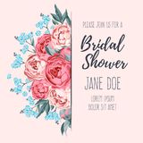 Bridal shower invitation. Vector bridal shower invitation decorated with flowers Stock Photo
