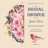 Bridal shower invitation. Vector bridal shower invitation decorated with flowers Stock Images