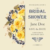 Bridal shower invitation. Vector bridal shower invitation decorated with flowers Stock Photography