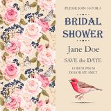 Bridal shower invitation. Vector bridal shower invitation decorated with flowers stock illustration