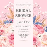 Bridal shower invitation. Vector bridal shower invitation with vintage roses and gypsophila Royalty Free Stock Photography