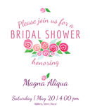 Bridal shower invitation vector watercolor flowers Stock Images