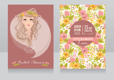 Bridal shower invitation. Wedding banner with beautiful bride, vector illustration Stock Images