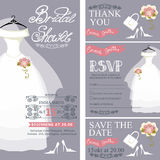 Bridal shower invitation.Wedding dress,bouquet Stock Images