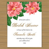 Bridal shower invitation. Bridal shower or wedding invitation with flowers. Vector illustration Royalty Free Stock Photos