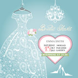 Bridal shower invitation.Wedding lace dress on. Cute Bridal shower invitation.Retro female's wedding  dress,high-heeled shoes,chandelier,het label.Dress with Royalty Free Stock Images