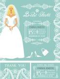 Bridal shower invitations.Bride,Winter wedding border Stock Image