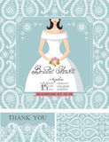 Bridal shower invitations.Bride,Winter wedding. Wedding Bridal shower invitation set.Bride in wedding dress,paisley lace pattern,lettering title ,retro design Royalty Free Stock Photography
