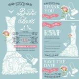Bridal shower invitations.Wedding Dress,decor Stock Photos