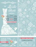 Bridal shower invitations.Winter wedding.Dress. Bridal shower invitation set.Bridal wedding dress,snowflakes lace pattern,borders,frames,lettering title ,retro Stock Photos