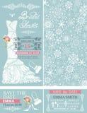 Bridal shower invitations.Winter wedding.Dress Stock Photos