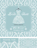 Bridal shower invitations.Winter wedding ornament. Bridal shower invitation set.Bridal wedding dress,paisley lace pattern,lettering title ,retro design.Winter Stock Image