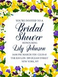 Bridal shower party or wedding ceremony invitation. Bridal shower party and wedding ceremony floral card for invitation template. Spring flower banner with Royalty Free Stock Photo