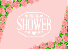 Bridal shower pink roses sign Stock Images