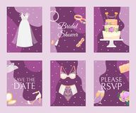 Bridal shower set of banners, cards vector illustration. Save the date. Lingerie shower. Wedding accessories such as stock illustration