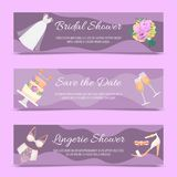 Bridal shower set of banners vector illustration. Save the date. Lingerie shower. Wedding accessories such as flower stock illustration