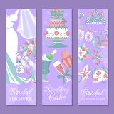 Bridal shower set of banners vector illustration. Save the date. Wedding cake. Wedding accessories such as flower stock illustration