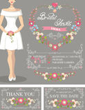 Bridal shower set.Bride,floral wreath,decor Royalty Free Stock Photo
