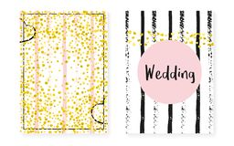 Bridal shower set with dots and sequins. Wedding invitation card with gold glitter confetti. Vertical stripes background. Hipster bridal shower set for party stock illustration