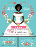 Bridal shower set.Mulatto bride and floral decor Stock Image