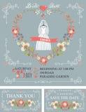 Bridal shower set.Wedding dress,floral wreath Stock Photos