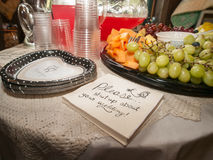 Bridal Shower Table. Table at bridal shower with heart shaped paper plates, napkins that say please shut-up about your wedding, a fruit platter with red and Royalty Free Stock Image